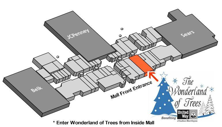 How to find the Wonderland of Trees display located in Crossroads Mall.